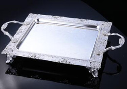 Hotel Cake Serving Tray Rectangle Metal Fruit Plate Food & Dessert Serving Tray Wedding Silver Trays