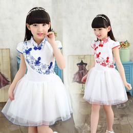Summer new Chinese dress Girls' Bitter fleabane bitter fleabane dress children Tang suit Show dancing dress