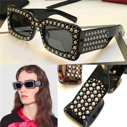 Limited style fashion sunglasses 0146 new avant-garde design style Rectangular-frame acetate sunglasses with pearls top quality uv400 lens
