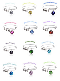 Wholesale Charm Bracelets Alex and Ani Months Crystal Birthstone Wiring Expandable Bangles Band Cuffs Women Statement Jewelry
