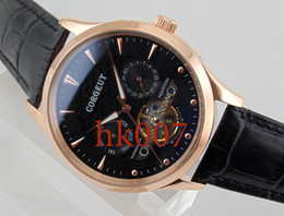 1593 Corgeut 44mm Rose Gold PVD Case Black Dial Date Day Men's Stainless Steel Automatic Watch