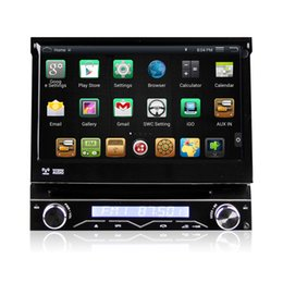 Wholesale 7 Inch Single Din Car DVD AutoRadio GPS Player Android Wifi With Motorized Retractable Monitor Removable Panel Anti theft Universal