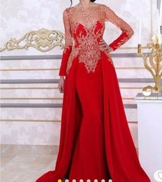 New Elegant Red Lace Long Sleeves Mermaid Backless Evening Dresses 2017 Party Prom Dresses Summer Overskirt Lace Appliques