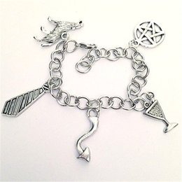 12pcs I Love Crowley the King of Hell Charm Bracelet Supernatural inspired bracelets Team Free Will Jewelry