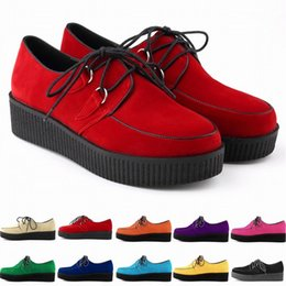 New Arrival Shoes Woman Faux Velvet Flat Shoes Lace Up Goth Punk Creepers Flats Creepers Flat Shoes Us Size 4-11 D0018