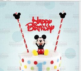 Wholesale pc Mickey mouse theme Happy birthday cupcake cake topper cake flags paper baking supplies Baby Shower Child Party Decoration
