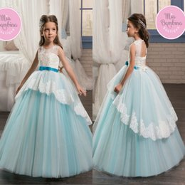 Newly Princess Ball Gown Flower Girl Dresses Sheer Jewel Neck Appliques Open Back With Sash Long Tulle Kids Birthday Formal Party Gown