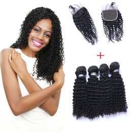 Resika Brazilian Hair Extensions 4Bundle 400g Hair Weft With Closure 4x4 Curly Human Hair Weave Weft Soft Full Double Weft