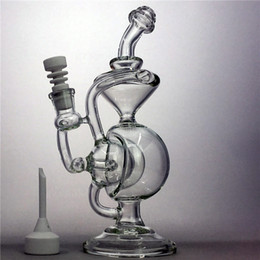 Wholesale Glass Dab Rig Oil Rigs Bongs Water Pipe Recycler Cyclone Bowl heady Bong Vortex Klein pipes mm inline perc bubbler triple egg Hookah