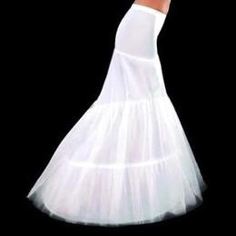 Falda de crinolina sirena en Línea-Plus Size Cheap High 2015 nupcial sirena enaguas 2 Hoop Crinolina para el vestido de boda Falda de la boda accesorios deslizamiento con el tren CPA214