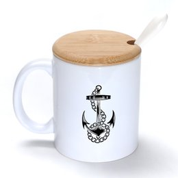 Wholesale Black Anchor Mug Coffee Milk Ceramic Cup Creative DIY Gifts Mugs oz With Bamboo cover lid Spoon S051