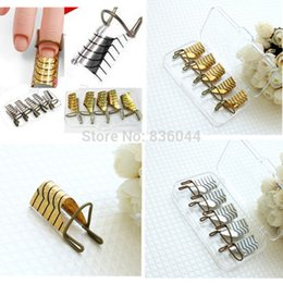 Wholesale Set Reusable Dual Gold Silver Form Nail Art Making C Curve Acrylic Gel UV French Tips Tool Manicure DIY Extension Gui