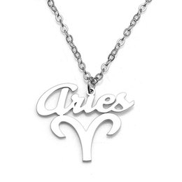 Aries Pendant Necklaces 12 Constellations 304 Stainless Steel Jewelry Link Chain Women Charm Necklace Wholesale Drop Shipping