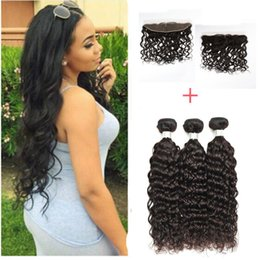Peruvian Lace Frontal Closure With 4 Bundles 200g Virgin Hair Weaves Natural Wave 13*4 inch Full Lace Frontal With Human Hair Weft