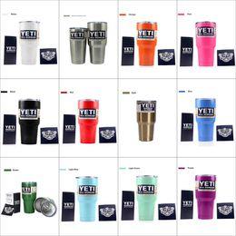 Wholesale 2017 colorful yeti tumbler oz oz oz Bilayer lens Cups With Lid Cars Beer Mug Large Capacity Mug coolers Stainless steel Mugs