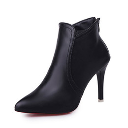 2017women shoes new trend pointed high-heeled with black boots after the zipper leather shoes Martin boots red high heels 35-39