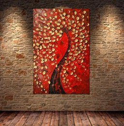 Pure Handpainted Abstract Flowers Tree Art Oil Painting On High Quality Canvas Free Shipping,Multi customized sizes meii