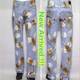 Wholesale 2017 Fashion Brand Robin Men denim trousers straight slim designer jeans Male Pants W30 W42 Plus Size Hot Sale LS
