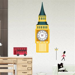 Wholesale 3D x90cm Vintage Paris Tower Big Ben Wall Clock Decal Home Decoration Wall Sticker Clock on the Wall Art for Bedroom Decorative Clocks