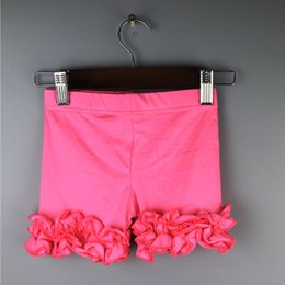 hot pink ruffle icing pants legging elastic girls natural color short leggings summer cotton pant girl