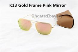 Lente de espejo en venta-10pcs mejor calidad hombre para mujer rectángulo gafas de sol caravana sol gafas de oro de aleación de metal flash espejo rosa 58 mm de vidrio caja de lente caja