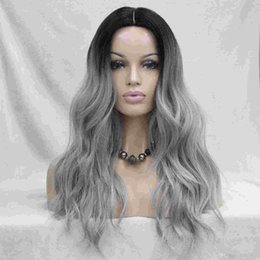 Do Not Cut Lace Front! Quality Heat Ok Synthetic Black To Grey Ombre Long Wavy Wig