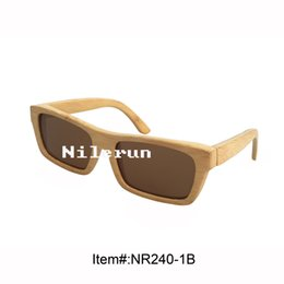 rectangle natural real bamboo frame sunglasses with UV400 polarized brown lens