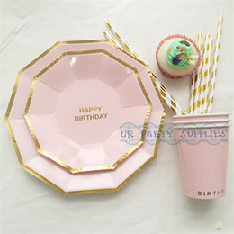 Wholesale Sets Disposable Pink Tableware Happy Birthday Foil Gold Hexagon Paper Plates Paper Cups for Baby Shower