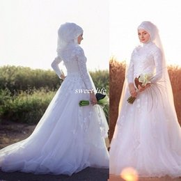 Wholesale Sensual Looking Fancy Clingy Long Sleeves Wedding Dresses High Neck White Ivory Dubai Muslim Bridal Special Occasion Gowns