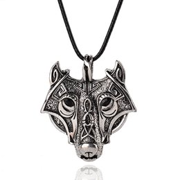Wholesale New Vikings Carved Wolf Pendant Necklace Ancient Silver Fashion Boy Girl Jewelry Gift SLXL16086