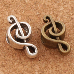 Music Note Metal Big Hole Beads 100 lot 18.4x9.5x7.3mm Antique Silver Bronze Fit European Charm Bracelets Jewelry DIY L1449