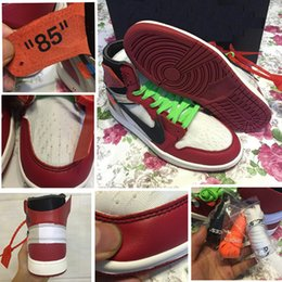 High OG 1s off white Air Retro 1 basketball shoes men high quality white red black 1 Sneaker USA 1985 With Original box