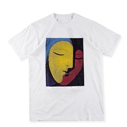 US Size 2017 High Quality Sup Abstract Face Art T-Shirts Men Women 100% Cotton Logo red Tee Print High Street Skateboards Classic T-shirt