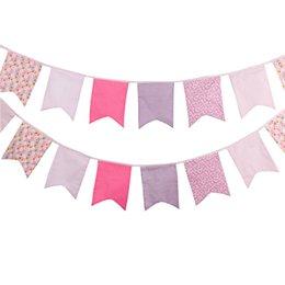 Vente en gros- 12 Drapeaux 3.5m Rose Cinq Coton Coton En Coton Banderole Drapeau Pennant Banner Garland Anniversaire / Baby Shower Décoration De Soirée En Plein Air à partir de tissu étamine bannière fabricateur