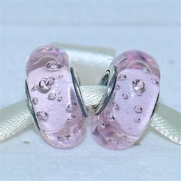 5pcs 925 Sterling Silver Pink Effervescence Murano Glass Beads with Clear Cz Fit Pandora European Charm Bracelets