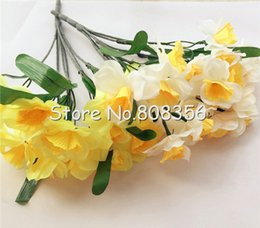 Artificial Narcissus Silk Flowers Simulation Daffodils Yellow White Seven Stems Per Bunch for Home Decoration Wedding Flower