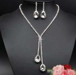 925 Sterling Silver Plated Bridal Jewelry Sets Nacklace Waterdrop Rhinestone Crystal Necklace Earrings for Women Wedding Statement Jewellery