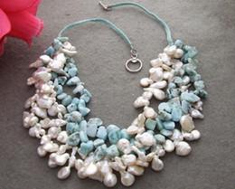 Beaux colliers à vendre-Beau! 4Strands 14mm Keshi PearlLarimar Collier