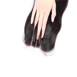Silky Straight Three Part 4*4 Lace Extensions with Human Hair Natural Color Brazilian Lace Closure in Stock with Lace Cap Dyeable
