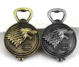 Wholesale 2017 NEW New Game of Thrones Bottle Opener Keychain Wine Beer Openers Stark Badge Retro Bronze Color Party Supplies MYY