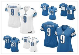Wholesale elite women Lions Jerseys Matthew Stafford Johnson cheap white blue Stitched Detroit authentic football shirts
