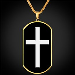 U7 Enamel Dog Tag Cross Pendant Necklace Fashion Gold Plated Stainless Steel Rope Chain For Men Women Christian Cross Jewelry Gifts P2359