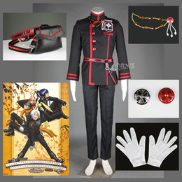 Wholesale New D Gray man Allen Walker Cosplay Costume custom made Cool Black Man Suits waist bag brooch belt gloves