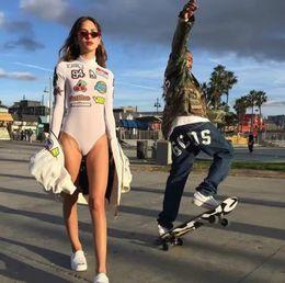 Wholesale GCDS Bodysuits Shark Hip Hop Fashion Sexy Girl Kawaii Perspective Long Sleeve Tee Gcds Mesh Hotline Chop Skateboard Boobs Romper