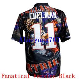 Wholesale Men Football EDELMAN Fanatical Version Lights Out Noble Platinum Pro Line USA Flag Embroidered Add Super Bowl LI Bound jersey
