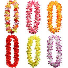 Hawaiian Leis Silk Flower Party Favor leis Artificial Garland Wreath Cheerleading Necklace Decoration