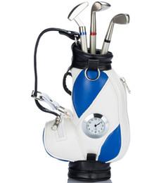 Balles de golf promotionnelles en Ligne-Cadeaux de papeterie fine Porte-stylo Cadeau de golf Cadeau promotionnel en métal stylo bille stylet club de golf coquille en métal PORTE-PLAQUES AVEC HORLOGE A-011 style