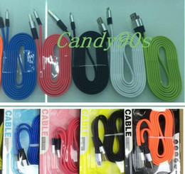 Wholesale Big noodels flat A fast charger Support cable Alloy Micro USB Cable M3FT plated Head for mobile phone with retail box