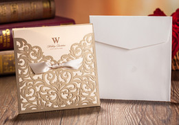 Wholesale New Design Rustic Gold beige Wedding Invitations Laser Cut Invitation Cards With Insert Paper Blank Card Envelope