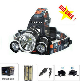 6000 Lumens Headlight 3 LED Cree XM-L T6+2R5 Head Lamp High Power LED Headlamp +2*18650 battery+Charger+car charger